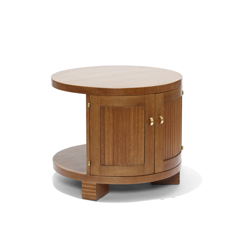 Gallery Bac Round Table With Offset Cabinet In Limed Oak