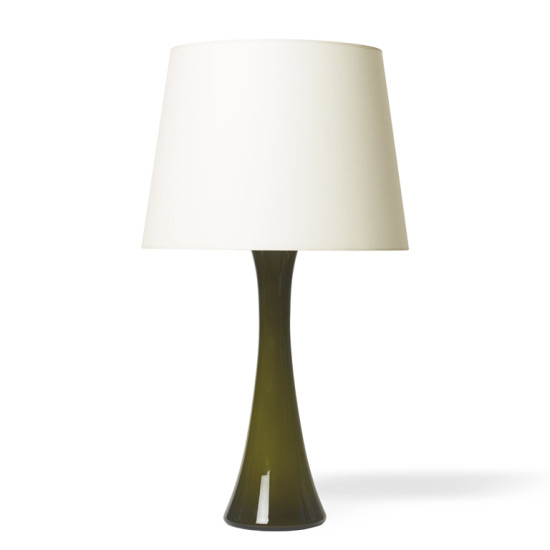 Bergboms_pair_table_lamps_convex_sided_pillars_olive_1