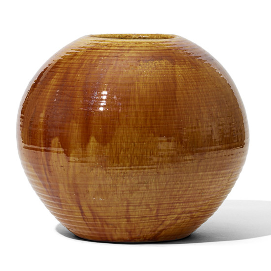 Gallery Bac Monumental Spherical Vase With Deep Golden