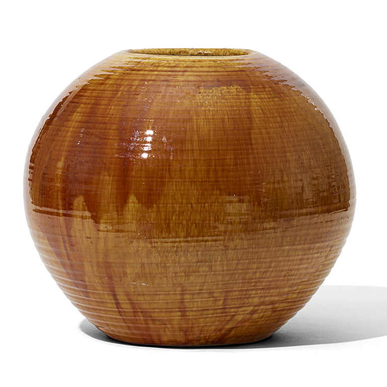 Gallery Bac Monumental Spherical Vase With Deep Golden Glaze By Khle