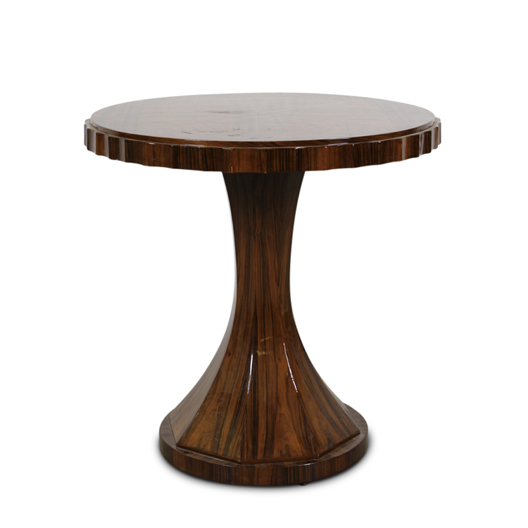 Gallery Bac Round Art Deco Table With Convex Pedestal In