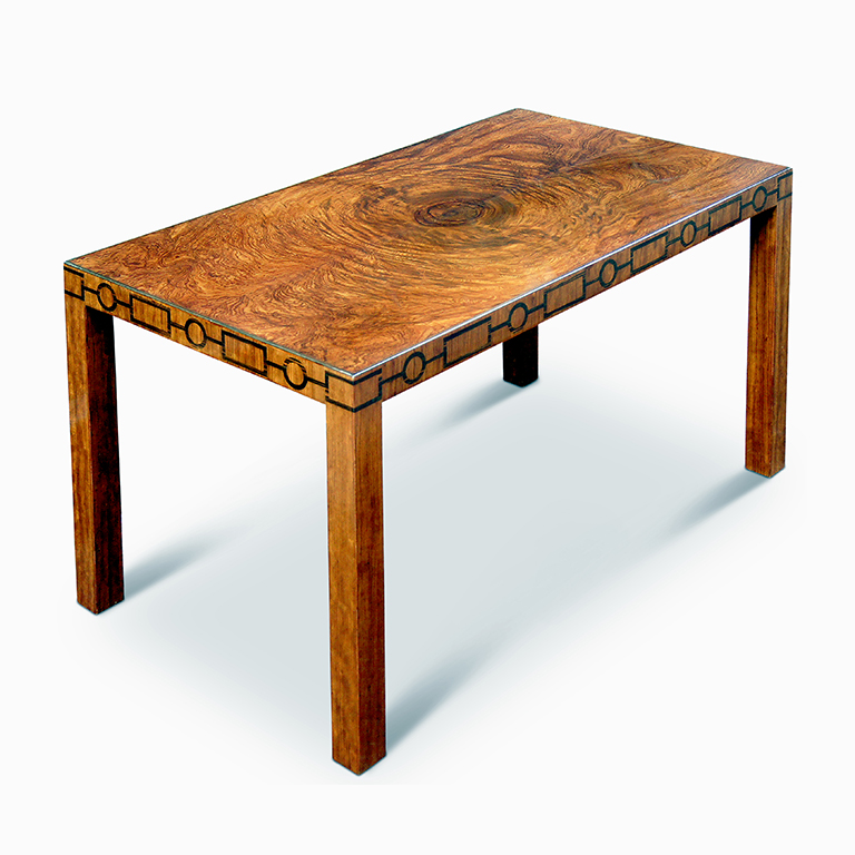 Gallery BAC | Swedish Modern Classicism Style Coffee Table With Burl Top  And Inlaid Frieze