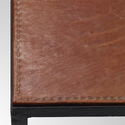 Pair Of Tables With Brown Stitched Leather Tops By Jean Michel Frank