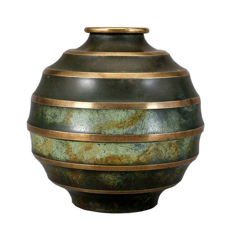 Gallery Bac Art Deco Vases In Patinated Bronze With Burnished