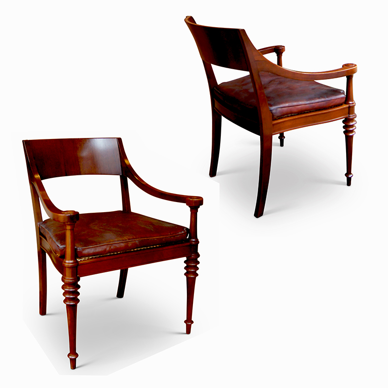 gallery bac pair of art deco neo antique armchairs in mahogany by