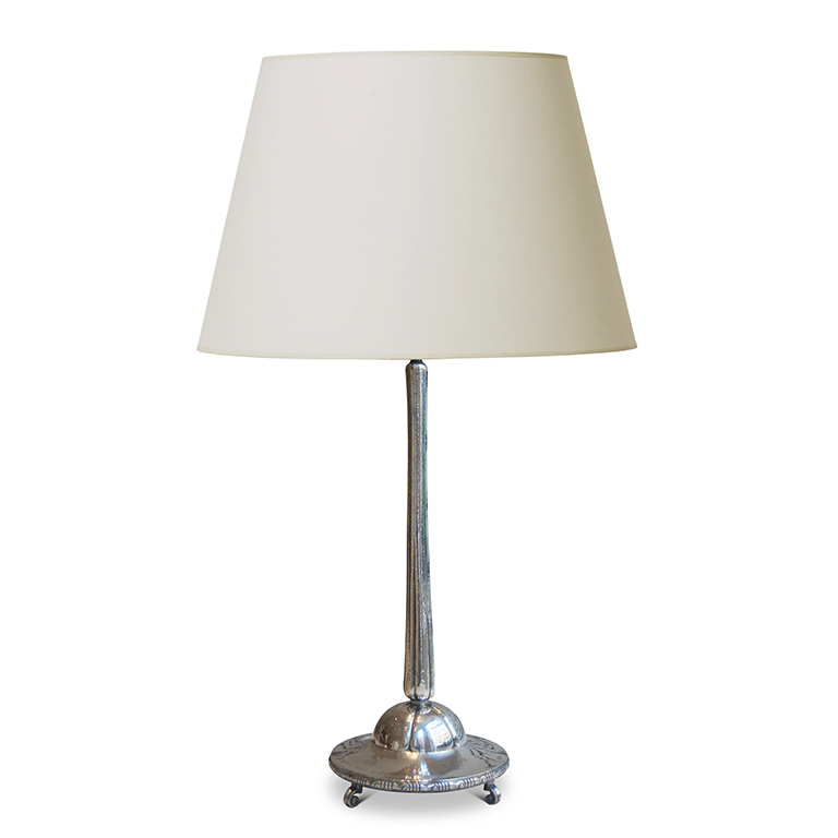 Gallery Bac Monumental Arts And Crafts Table Lamp In Silver By K Anderson